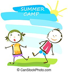 letnie dzieciska, obóz, szczęśliwy, afisz