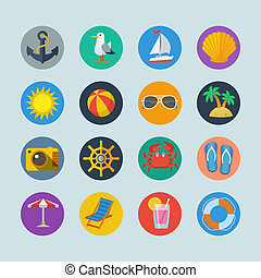 letnie wakacje, morze, ikony