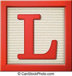 letra, 3d, l, bloco, vermelho