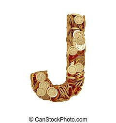 letra alfabeto, j, com, dourado, moedas, isolado, branco, fundo