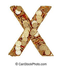 letra alfabeto, x, com, dourado, moedas, isolado, branco, fundo