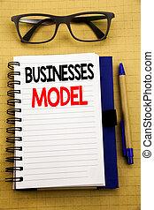 letra, anúncio, texto, mostrando, negócios, model., conceito negócio, para, projeto, para, negócio, escrito, ligado, tabuleta, laptop, madeira, fundo, com, nota pegajosa, café, e, caneta