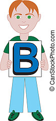 letra b, niño