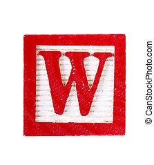 letra, bloco, madeira, isolado, branca, alfabeto, w
