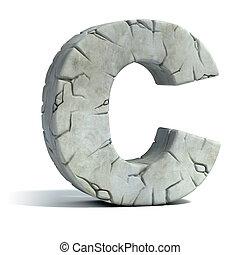 letra c, agrietado, piedra