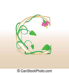 letra c, con, un, vendimia, patrón floral