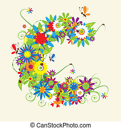 letra c, floral, design.