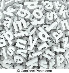 letra, confusão, fundo, alfabeto, palavras, derramado,...