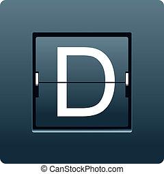 letra, d, de, mecânico, scoreboard., vetorial