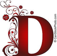 letra, d, vermelho, capital