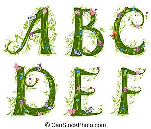 letra, de, a, foliage