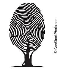letra de dedo, árbol