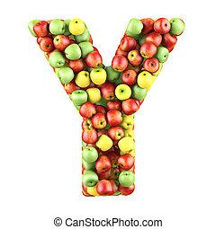 letra, de, frutas