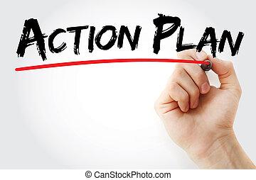 letra de mano, acción, plan, con, marcador