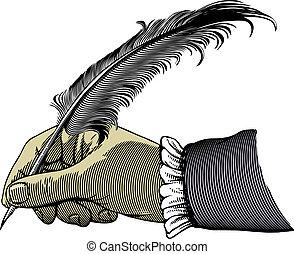 letra de mano, con, un, pluma