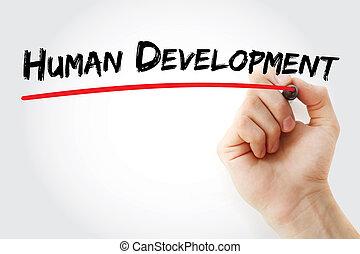 letra de mano, desarrollo humano, con, marcador