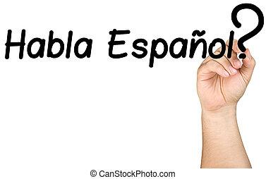 letra de mano, habla, espanol, en, claro, vidrio, whiteboard