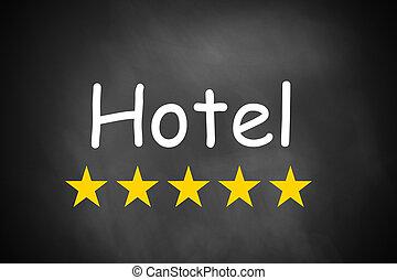 letra de mano, hotel, en, negro, pizarra, cinco, estrellas
