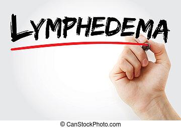 letra de mano, lymphedema, marcador