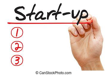 letra de mano, start-up, lista, concepto de la corporación mercantil
