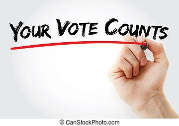 letra de mano, su, voto, condes, con, marcador