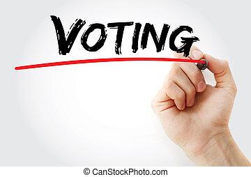 letra de mano, votación, con, marcador