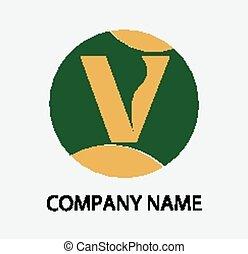 letra, desenho, modelo, v, logotipo, ícone