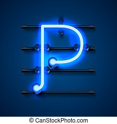 letra, desenho, signboard., p, arte, néon, fonte