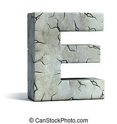 letra e, agrietado, piedra