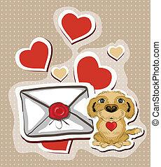 letra, engraçado, amor, cão, ilustração