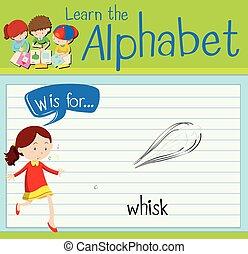 letra, flashcard, whisk, w