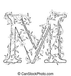 letra, floral, m, esboço