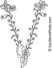 letra, floral, v, ornamento