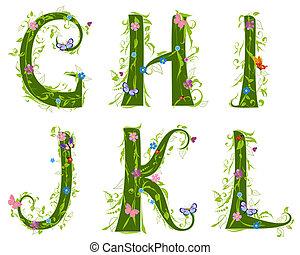 letra, foliage