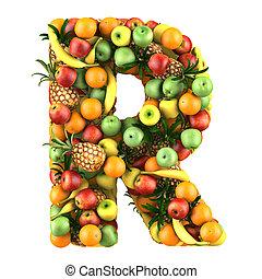 letra, frutas