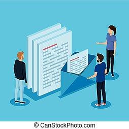 letra, informação, mulher, documentos, homens