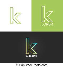 letra k, logotipo, alfabeto, diseño, icono, conjunto, plano...