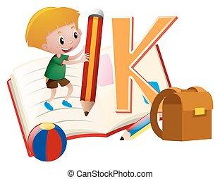 letra k, y, niño pequeño