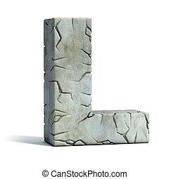 letra l, agrietado, piedra