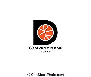letra, logotipo, basquetebol, d, modelo