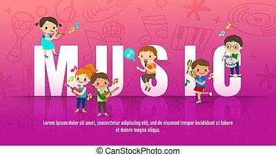 letra, música, vetorial, ao redor, tocando, instruments., caricatura, guitarra, grande, musical, crianças, cantando, conceito, illustration., crianças