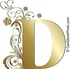 letra maiúscula, d, ouro