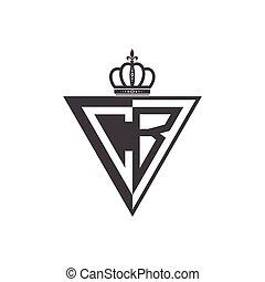 letra, metade, logotipo, inicial, triangulo, pretas, dois