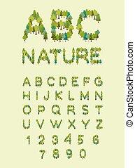 letra, natureza, eco, letras, font., árvore., árvore, alphabet., floresta