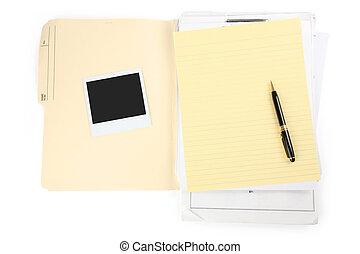 letra, papel, e, caneta