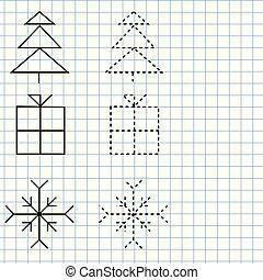 letra, prática, sheet., educacional, crianças, jogo, printable, worksheet, para, kids., traçado, linhas, e, shapes., ano novo, e, natal, tema