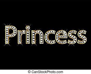 letra, princesa, ouro