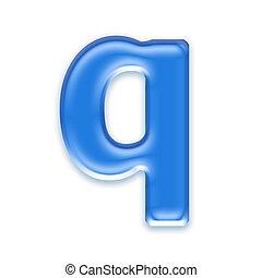 letra, -, q, fundo, isolado, aqua, branca