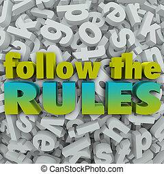 letra, Regras, Diretrizes, regulamentos, fundo, seguir,  3D