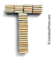 letra, t, formado, de, a, página, extremidades, de, livros